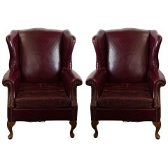 Pair of Leather Wingbacks