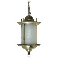 1920 Silver Gilded Frosted Glass Pendant Light