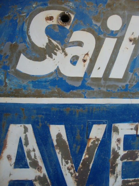 Great neon sign in bright blue paint untouched condition, found in Northern California