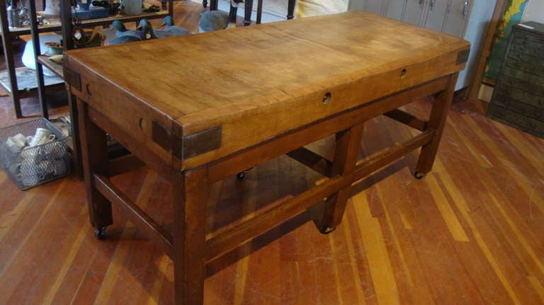 Butcher Block Table At 1stdibs