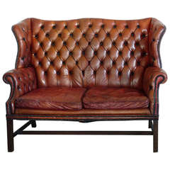 1930 Leather Tufted Wing Back Style Sofa