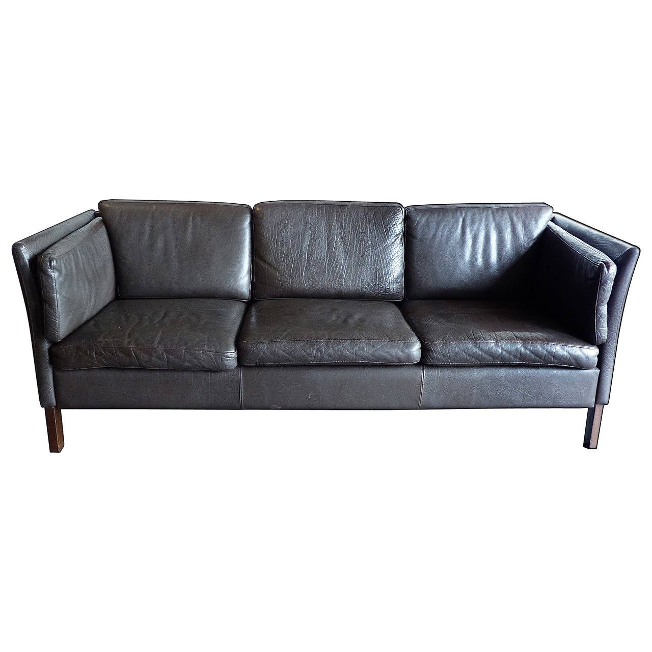 Leather mid century modern sofa at 1stdibs for Modern leather furniture