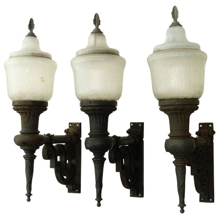 Set Of Three Cast Iron Exterior Sconces Novalux At 1stdibs