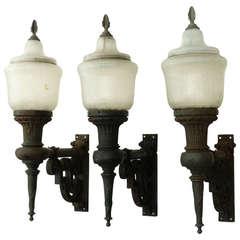 Set of Three Cast Iron Exterior Sconces, Novalux