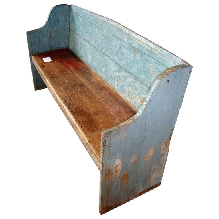 Pine Settle Bench In Old Blue Paint At 1stdibs