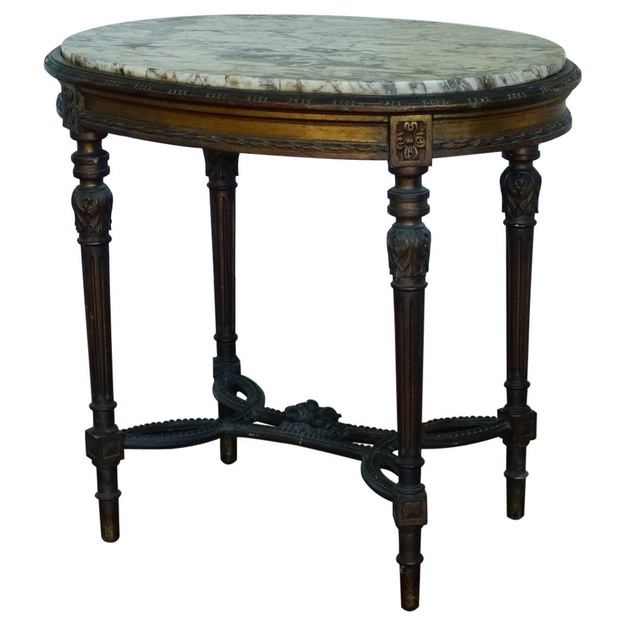 Wood gilded louis xvi style marble top oval table at 1stdibs - Archives departementales 33 tables decennales ...