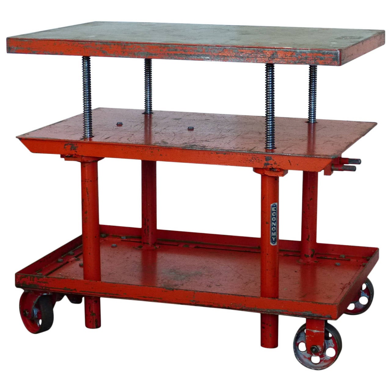 1950 Industrial Adjustable Height Lift Table At 1stdibs
