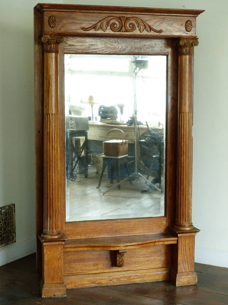 White Oak Architectural Pier Mirror At 1stdibs