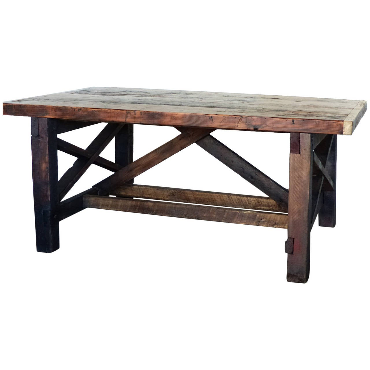 Industrial wooden work table at stdibs