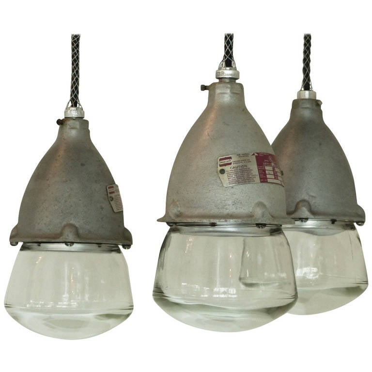 industrial glass pendants at 1stdibs