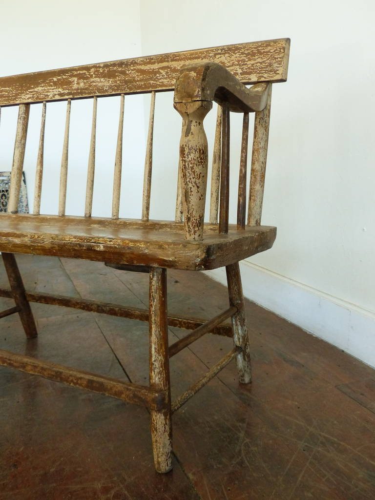 Wooden Spindle Table ~ Th century wooden spindle maple or pine benches with