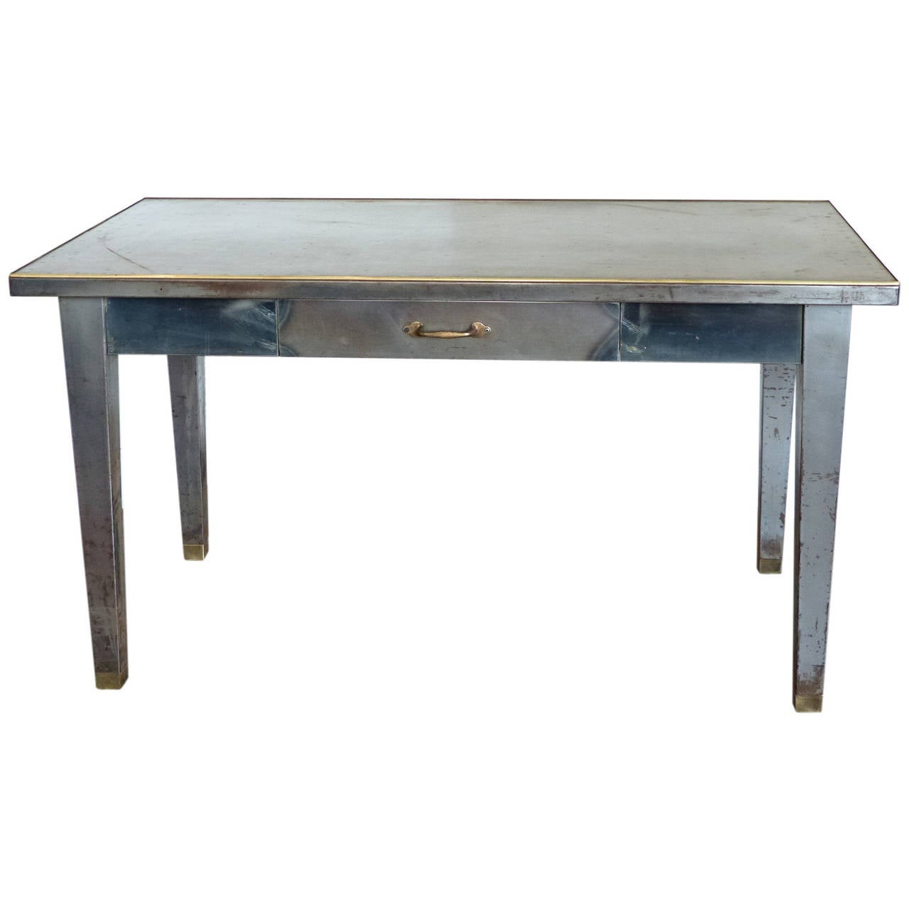 Brass edged steel office desk at 1stdibs - Metal office desk ...