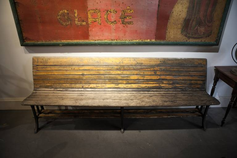 19th Century Maple Or Cast Iron Train Station Bench At 1stdibs