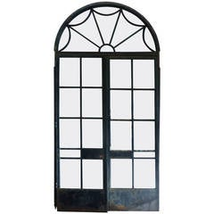 19th Century Large Steel and Cast Iron Decorative Doors from a Conservatory