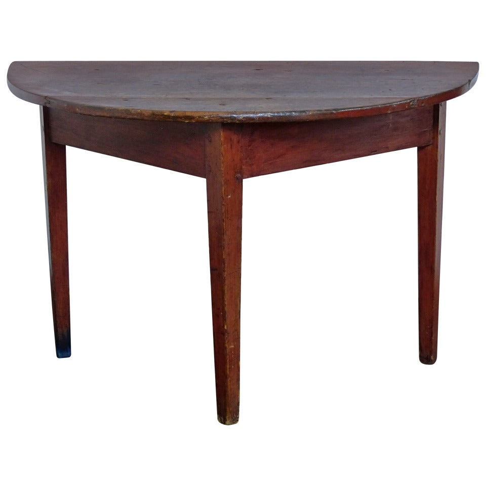 19th c pine demi lune table at 1stdibs - Table cuisine demi lune ...