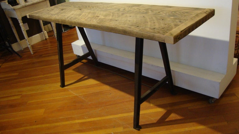 Canadian Raw Wood Console Table For Sale