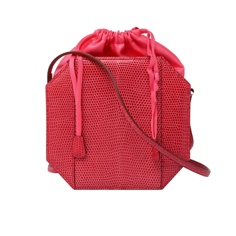 Red Hermes Sac A Poudrier Bougainvillea Lizard with Palladium Clutch  For Sale