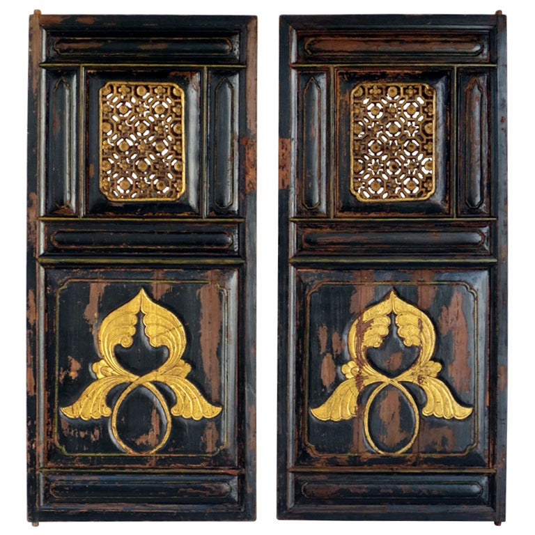 Lacquer Paint Door : Black lacquer doors ha at stdibs