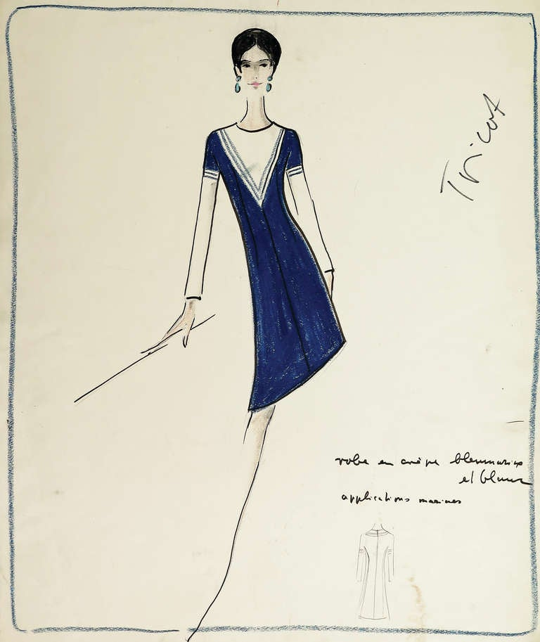 Original Karl Lagerfeld Fashion Drawings Circa 1965 Free Shipping At 1stdibs