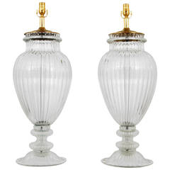 Pair of Monumental Murano Lamps, Manner of Barovier & Toso