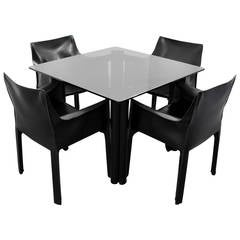 Mario Bellini Leather Chairs and Acerbis International Table