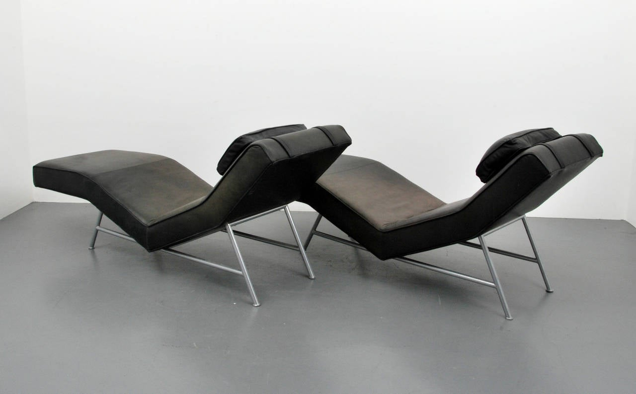 Pair of milo baughman leather fred chaise lounge chairs for Chaise leather lounges