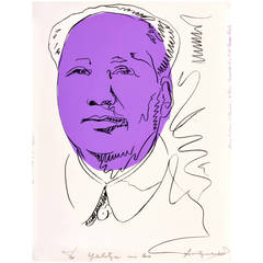 "Rare Andy Warhol Signed ""Mao"" Exhibition Screenprint"