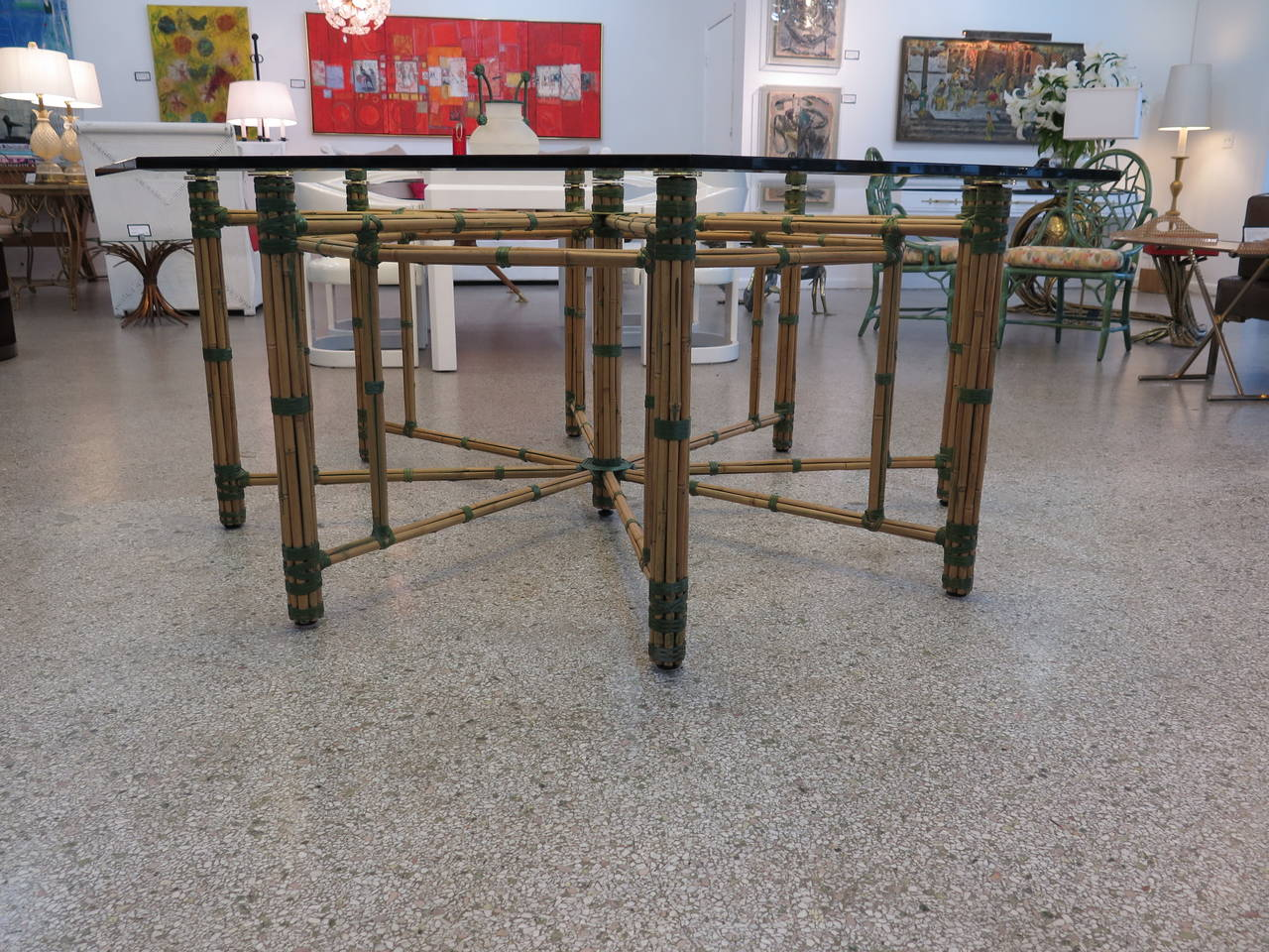 McGuire Dining Table & Eight Arm Chairs For Sale 3