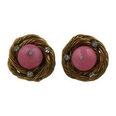Classic Chanel Pink Birds Nest Earclips