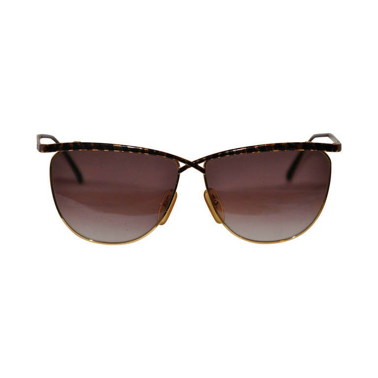 Laura Biagiotti Gold Hardware with Tortoise Shell Overlay Sunglasses