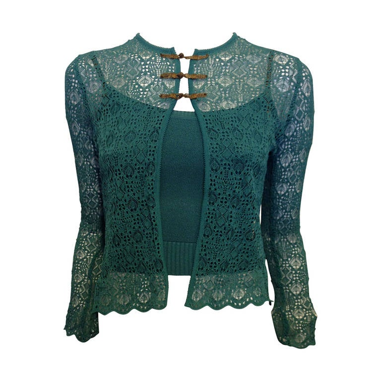 Christian Dior Teal Lace Twinset 1
