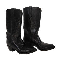 Lucchese black leather cowboy boots