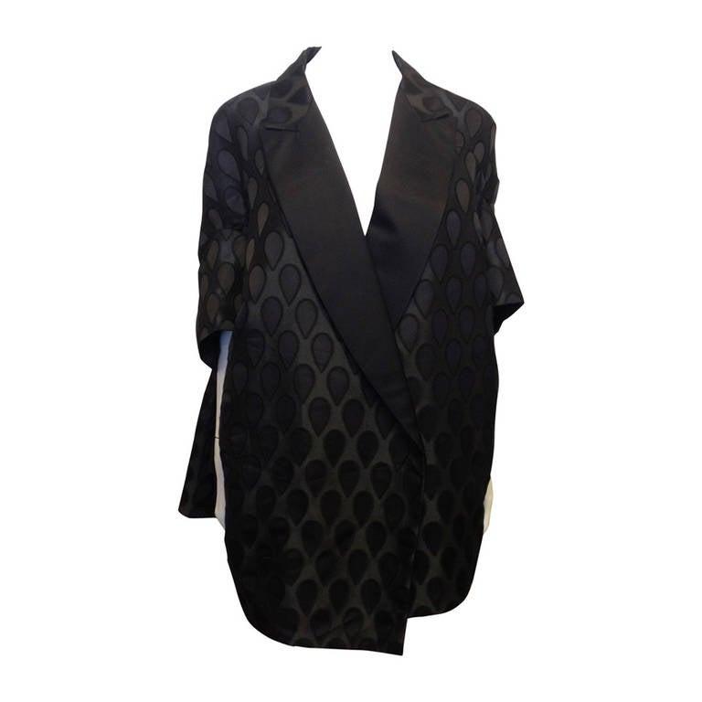 Yves Saint Laurent Black Satin Coat 1