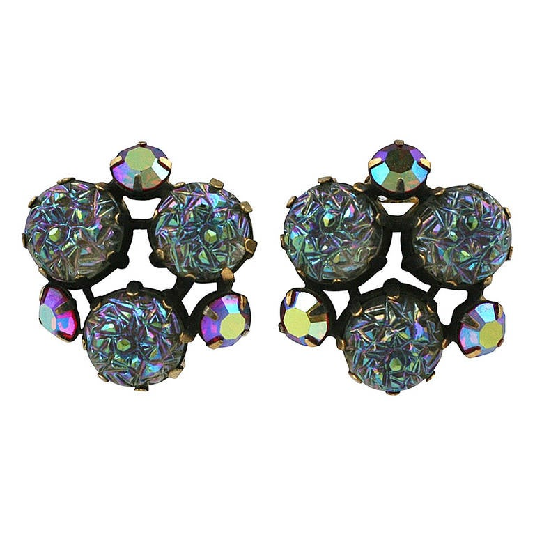 Schiaparelli Lava and Aurora Borealis Earclips For Sale