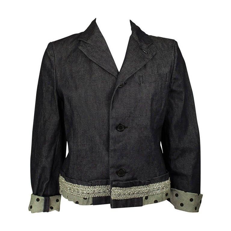 Comme des Garcons 1990s Denim Polka Dot Cropped Jacket