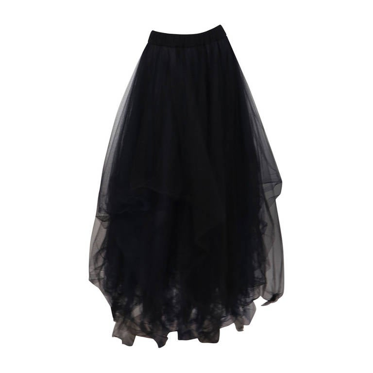 1990s Chanel layered tulle skirt in black & blue 1