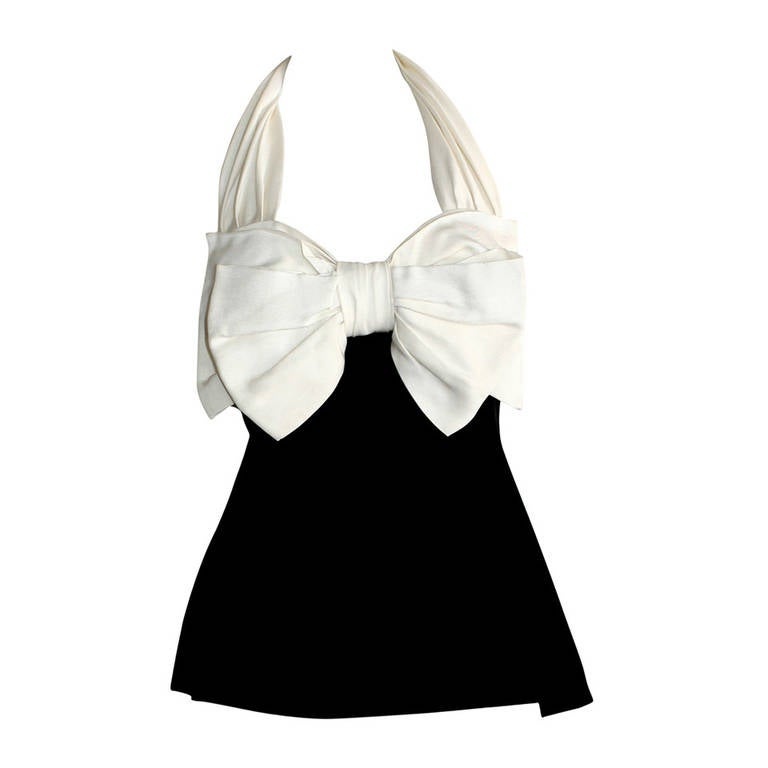 Vintage Yves Saint Laurent Rive Gauche Black & White Bow Halter Top Blouse 1
