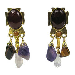 Philippe ferrandis Multi Stone Maltese Amethyst Dangle earrings 1990s