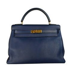 Hermes Kelly Handbag Sapphire Blue 32cm