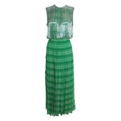 1960s Galanos Emerald Green Tartan Gown with Beaded Bodice