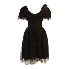 Nolan Miller Lovely Black Cocktail Dress with Lace and Bow Sleeves