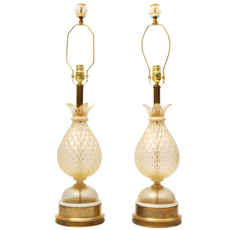 Pair of Lamps Attributed to Barovier & Toso