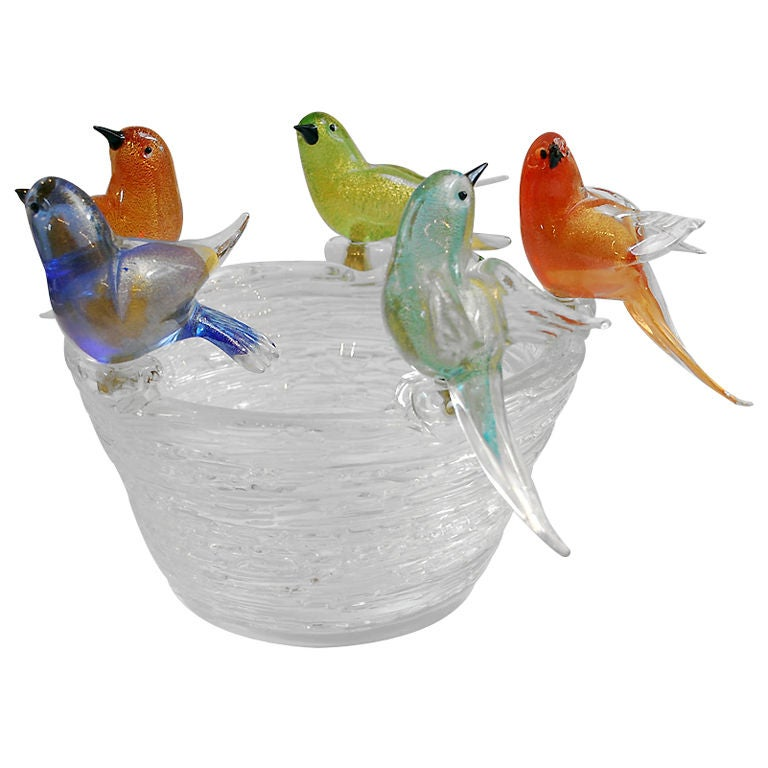 Dux Dining Table This Fine & Rare Murano Bowl with Bird Figurines is no longer ...