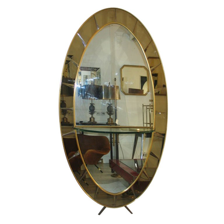 Floor standing mirror with glass shelf console by crystal for Standing glass mirror