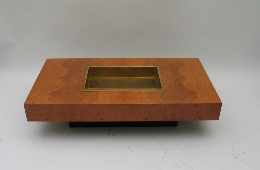 Willy Rizzo Coffee Table In Burl Walnut And Brass At 1stdibs
