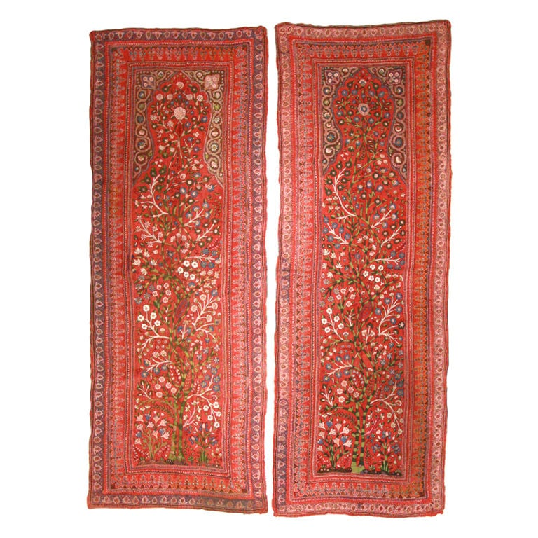Pair of Vintage Persian Kirman Shawl Panels For Sale
