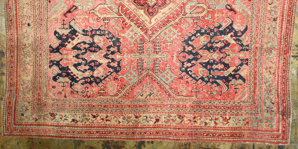 Hand-Knotted Antique Oushak Rug For Sale