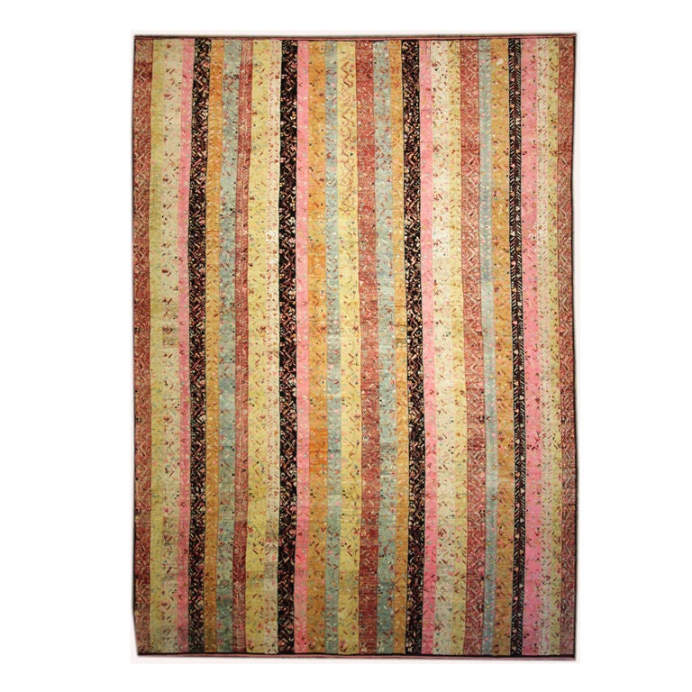Old Yarn Striped Rug For Sale At 1stdibs