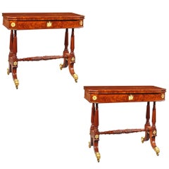 Pair of Card Tables with Trestle Bases and Eagle Mounts