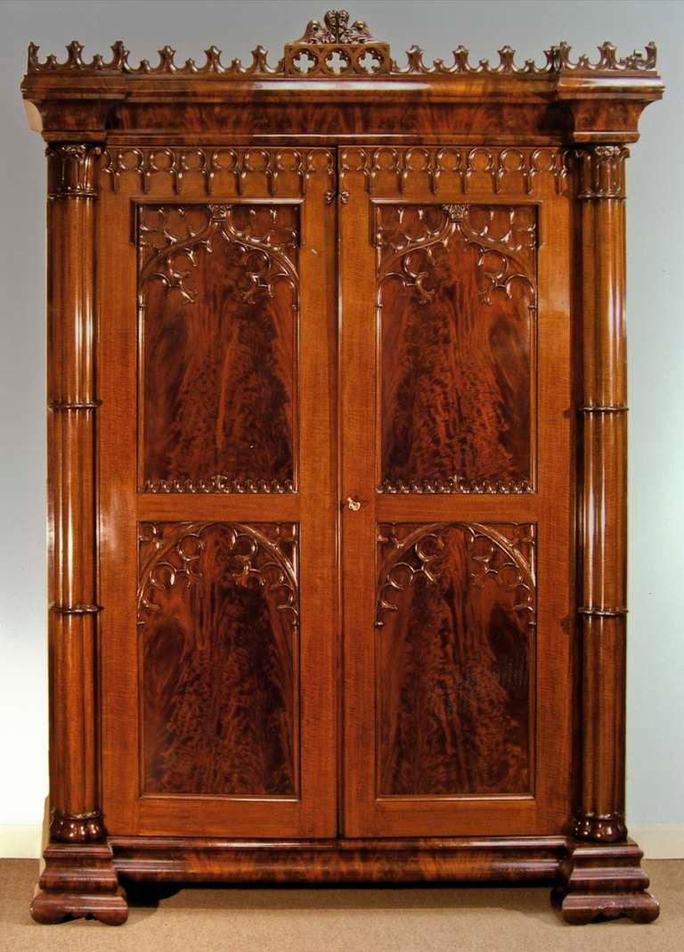 Fapg 19959d 2 Gothic Revival Armoire New York About 1835 1840 Mahogany